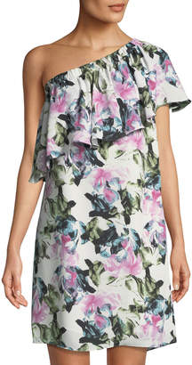 Vince Camuto Glacier Floral Ruffled One-Shoulder Dress