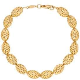 Lord & Taylor 14k Yellow Gold Oval Beaded Bracelet