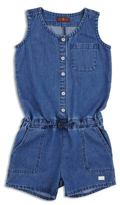 7 For All Mankind Girls' Denim Button-Up Romper - Big Kid