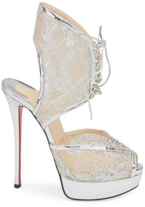 7aa0d6136b32 Christian Louboutin Jose Altafine 150 Lurex Lace Platform Wedge Sandals