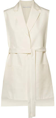 Rosetta Getty Oversized Belted Cutout Crepe Gilet - Off-white