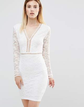 AX Paris Plunge Front Mini Dress With Lace Sleeves $43 thestylecure.com