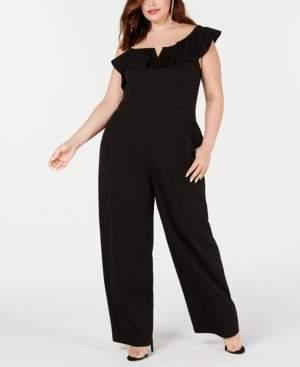 Teeze Me Plus Size One-Shoulder Ruffle Jumpsuit