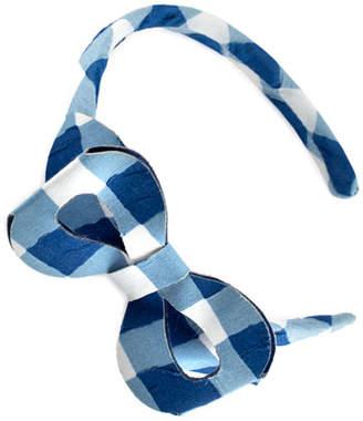 Carrera Pili Girls' Cotton Gingham Headband, Blue