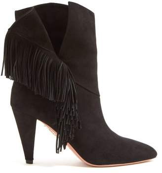 Aquazzura Apache 85 Fringed Suede Ankle Boots - Womens - Black