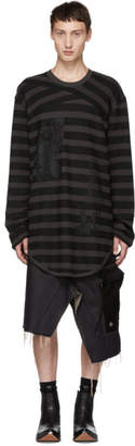 Julius Black and Grey Striped Long Sleeve T-Shirt