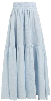 Mara Hoffman Carmen Striped Hemp Maxi Skirt - Womens - Blue White