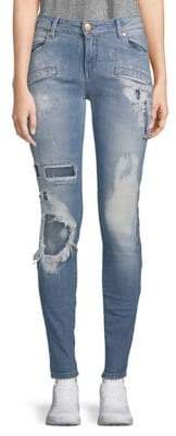 Pierre Balmain Stretch Cotton Ripped Jeans