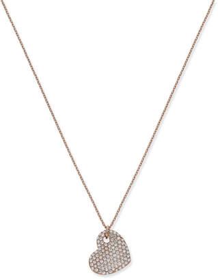 Joan Boyce Rose Gold-Tone Pave Heart Long Pendant Necklace