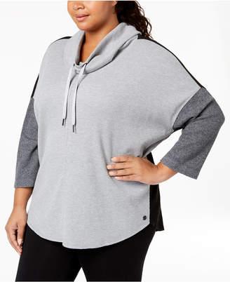 Calvin Klein Plus Size Waffle-Knit Dolman-Sleeve Hoodie