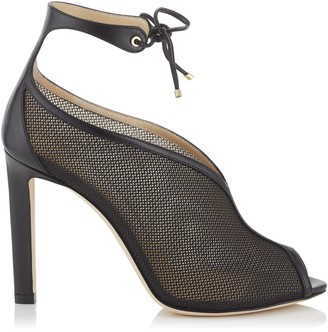 Jimmy Choo SAYRA 100 Black Techno Raffia and Nappa Leather Booties