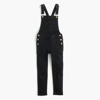 Girls' stretch denim overalls in black $78 thestylecure.com