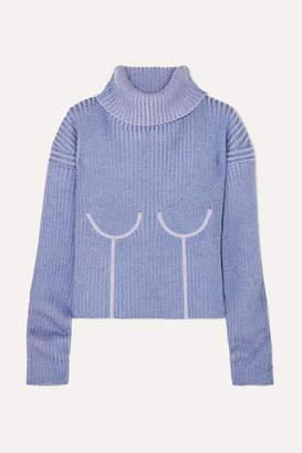Thierry Mugler Ribbed Mélange Wool-blend Turtleneck Sweater - Lilac