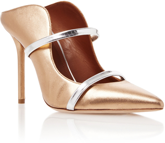 Malone Souliers Maureen Gold Leather Mules $525 thestylecure.com