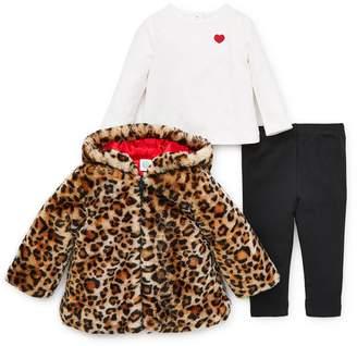 Little Me Faux Fur Jacket, T-Shirt & Leggings Set