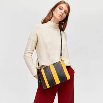 Warehouse Stripe Leather Clutch Bag