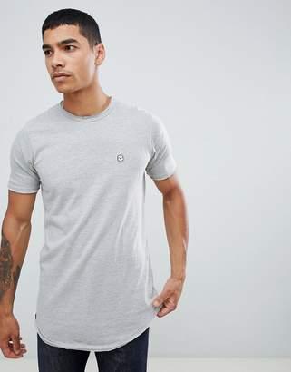 Le Breve Longline Curved Hem Marl T-Shirt