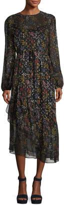 See by Chloe Asymmetric Floral-Print Long-Sleeve Dress