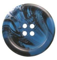 Hemline Four Hole Blue And Black Buttons 27.5Mm 2Pk