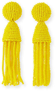 Oscar de la Renta Short Beaded Tassel Clip-On Earrings