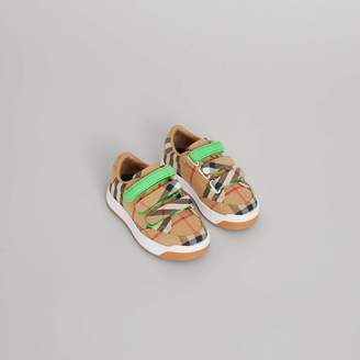 Burberry Vintage Check Sneakers , Size: 23, Green