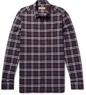 Burberry Checked Cotton-Poplin Shirt - Navy