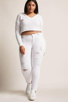 Forever 21 Plus Size Distressed High-Rise Denim Jeans