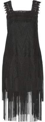 Anna Sui Lace-Paneled Fringed Glittered Crochet-Knit Dress