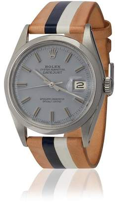 Rolex La Californienne Tan And Grey Modegrau Eames Steel And Leather Watch