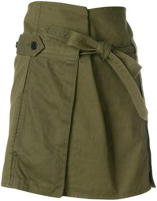 Tie Waist Cargo Mini Skirt