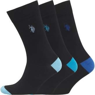 U.S. Polo Assn. Mens Three Pack Socks Black