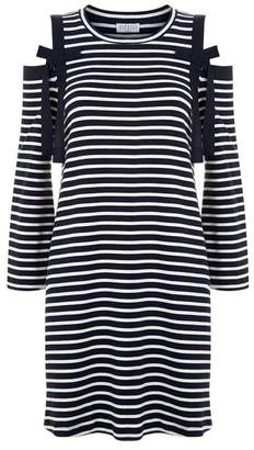 Claudie Pierlot Striped Cold-Shoulder Mini Dress