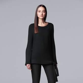 Vera Wang Women's Simply Vera Side-Tie Ribbed Crewneck Sweater