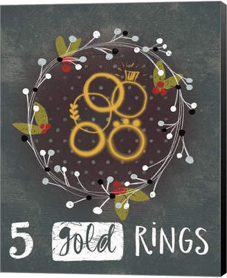 Metaverse 5 Gold Rings By Katie Doucette Canvas Art