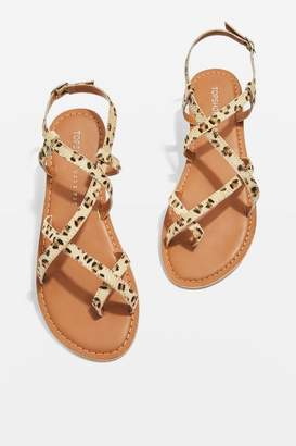 Topshop **Wide fit Hiccup Strappy Leopard Print Sandals