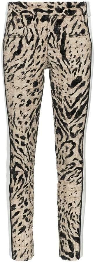 contrast leopard print trousers