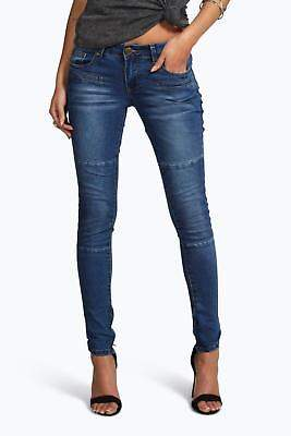 boohoo Womens Ellie Low Rise Panelled Pocket Detail Skinny Jeans