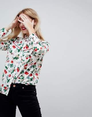 Asos DESIGN Western Shirt in Cherry Floral Print