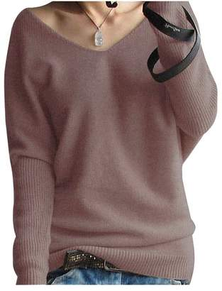 LongMing Women's Fashion Big V-Neck Loose Sexy Batwing Sleeve Wool Cashmere Sweater Pullover Tops