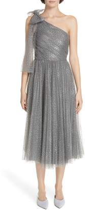 RED Valentino Metallic One-Shoulder A-Line Dress