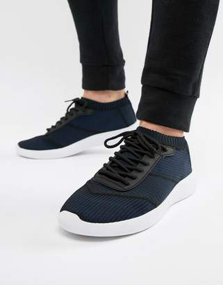 Asos DESIGN sock sneakers in navy knit with laces