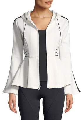 CUSHNIE Hooded Flare-Sleeve Peplum Jacket with Contrast Cording