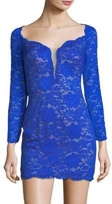 La Femme Sweetheart Open-Back Lace Cocktail Mini Dress