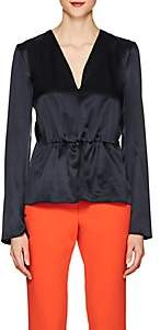 Narciso Rodriguez Women's Silk Charmeuse Peplum Blouse - Navy