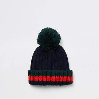 River Island Mini boys navy striped bobble top knot beanie