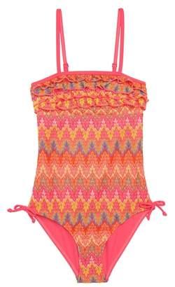 Vigoss Flame Stitch Ruffle One-Piece Swimsuit