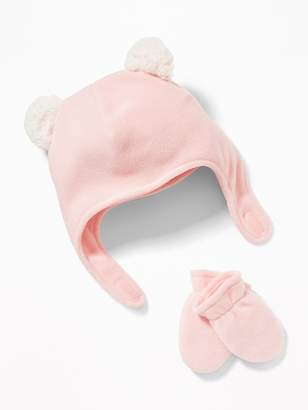 Old Navy Micro Performance Fleece Trapper-Critter Hat & Mittens Set for Baby