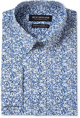Nick Graham Men's Slim-Fit Stretch Easy-Care Vine Print Dress Shirt