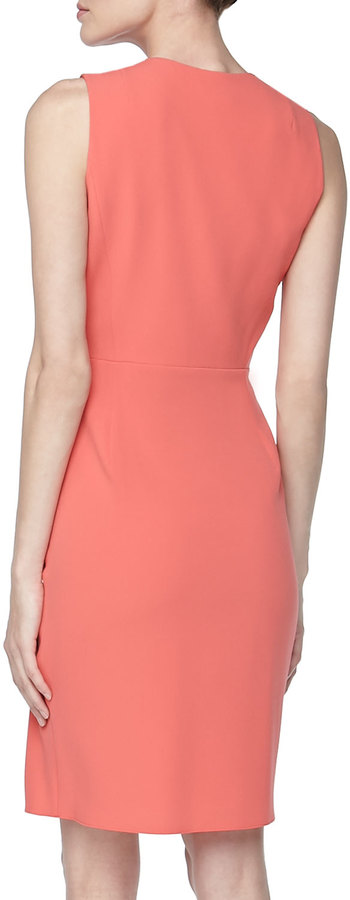 Paule Ka Sleeveless Draped-Front Dress, Coral