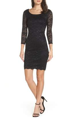 Sequin Hearts Open Back Glitter Lace Cocktail Sheath